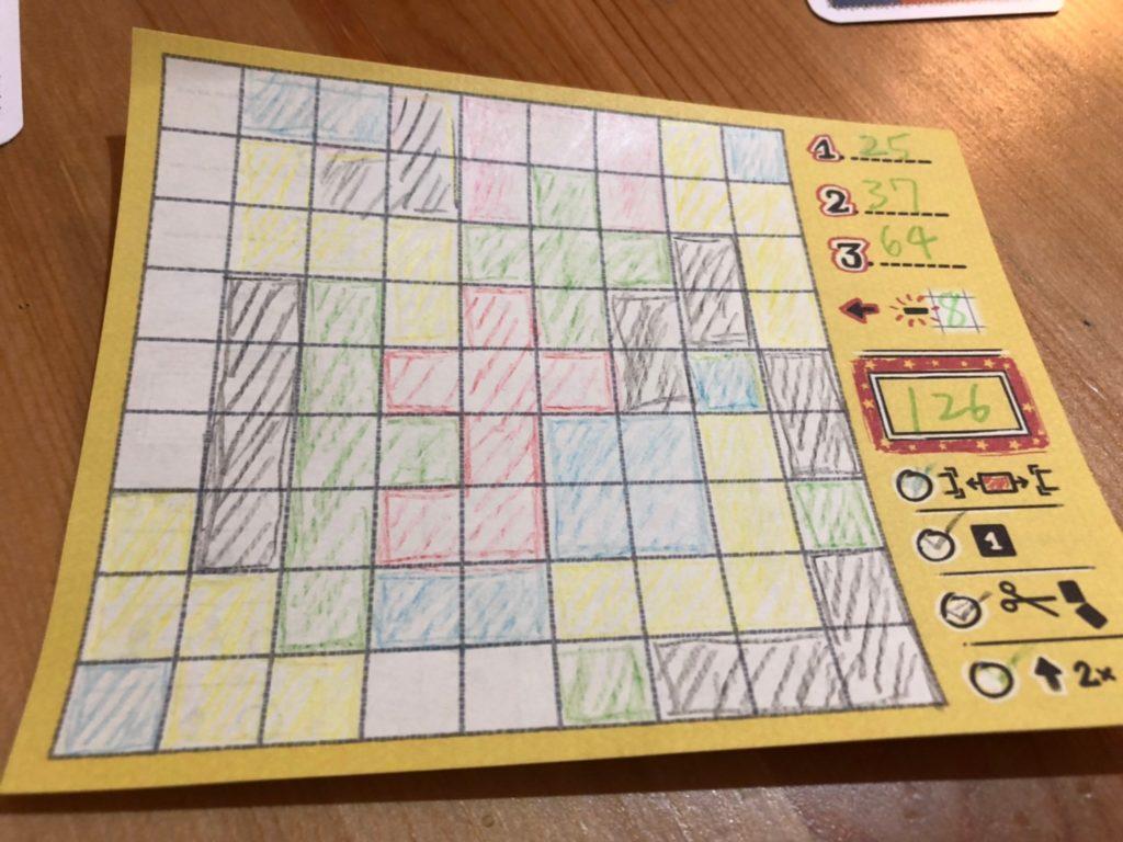 パッチワーク:ドゥードゥル 日本語版のゲーム終了時のプレイシート