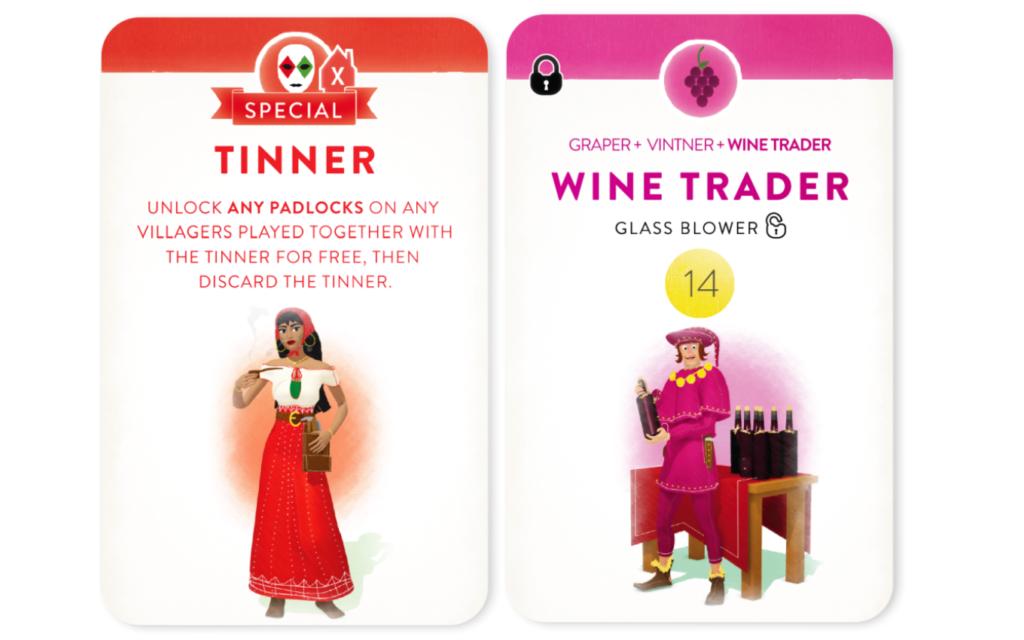 「ヴィレジャーズ」のカード(TinnerとWine Trader)