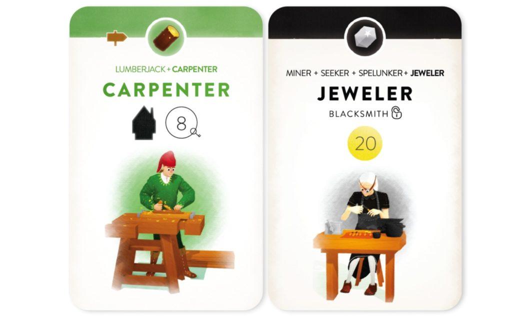 「ヴィレジャーズ」のカード(CarpenterとJeweler)